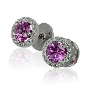 Round Pink Sapphire Halo Earrings