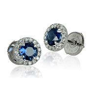 Round Sapphire Halo Earrings