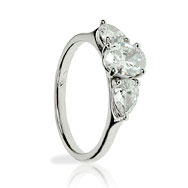 Oval & Pear Shape Trilogy Engagement Ring