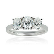 Oval Shape Trilogy Engagement Ring