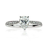 Pear Shape & Pave Solitaire Engagement Ring