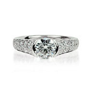Round Diamond & Pave Solitaire B Engagement Ring