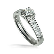 Round Solitaire With Princess Channel Engagement Ring