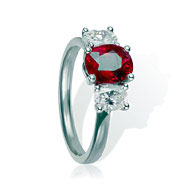 Ruby & Diamond Trilogy Engagement Ring