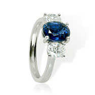 Sapphire & Diamond Trilogy  Engagement Ring