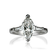 Marquise & Tapered Baguette Trilogy Engagement Ring