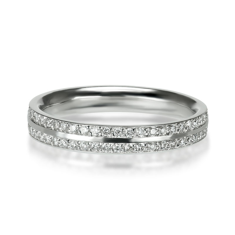 double pav band weddingeternity ring - Double Band Wedding Ring
